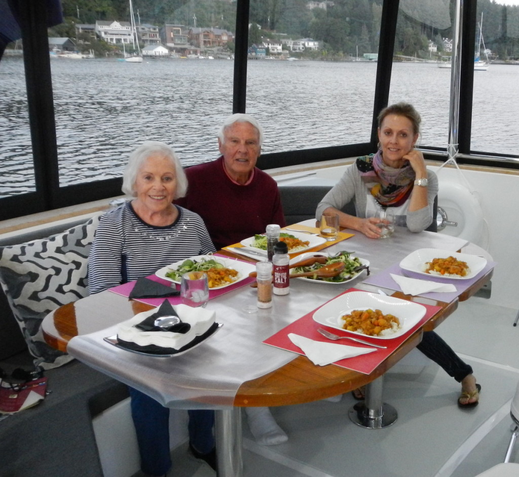 Dinner on board with Rosemarie and Cal