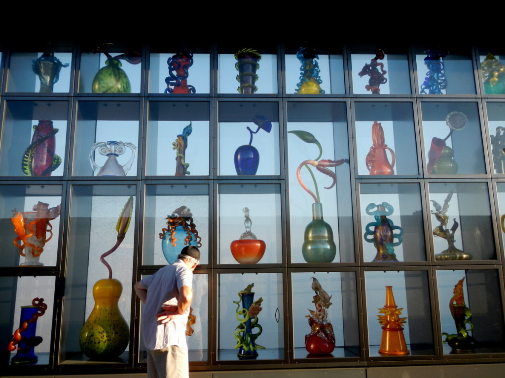 An amazing wall full of  glass works of Dale Chihuly