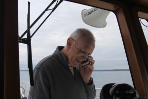 Johann talking to US Customs shortly after we exited Puget Sound