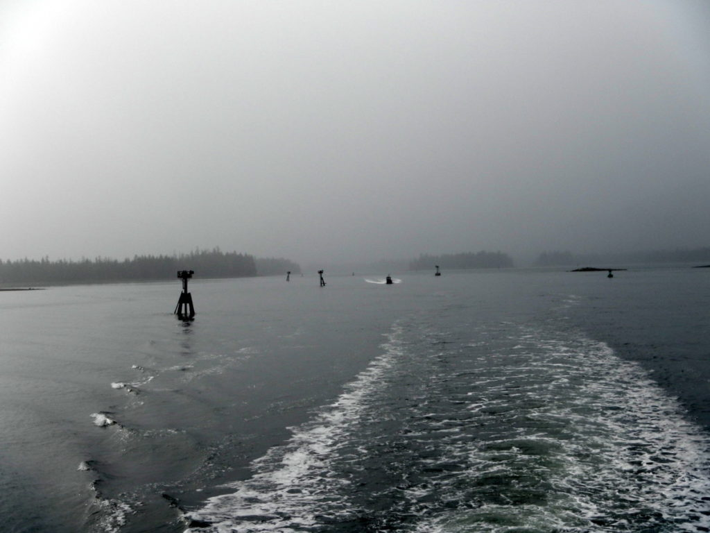 Wrangell Narrows in foggy conditions