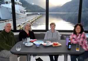 Christiaan, Wanda, Elaine and Arlene with sun-downer drinks and nibblies