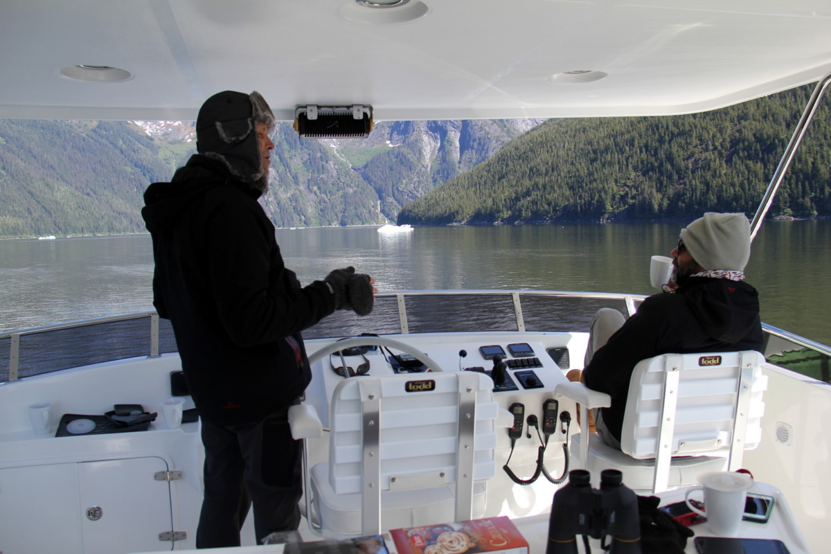 Having a hot cup of tea on the fly-bridge in Tracy Arm