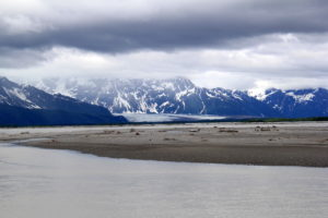Copper Delta River with the glacier in the background