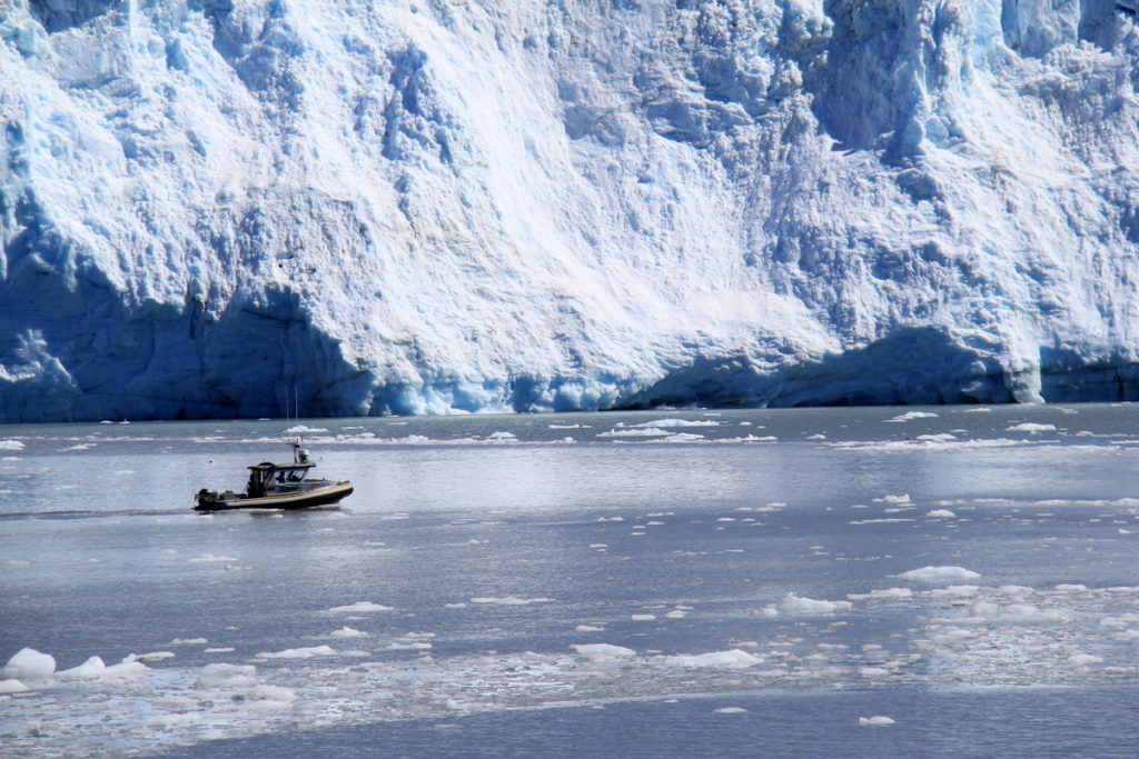 A fishing boat in front of Mears Glacier