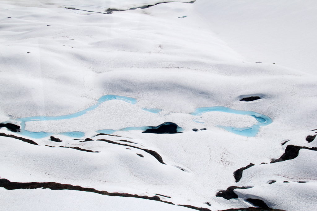 Rivers and streams on top of Shoup Glacier
