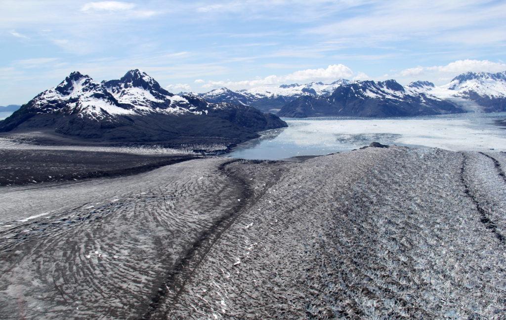 Looking down Columbia Glacier into Columbia Bay