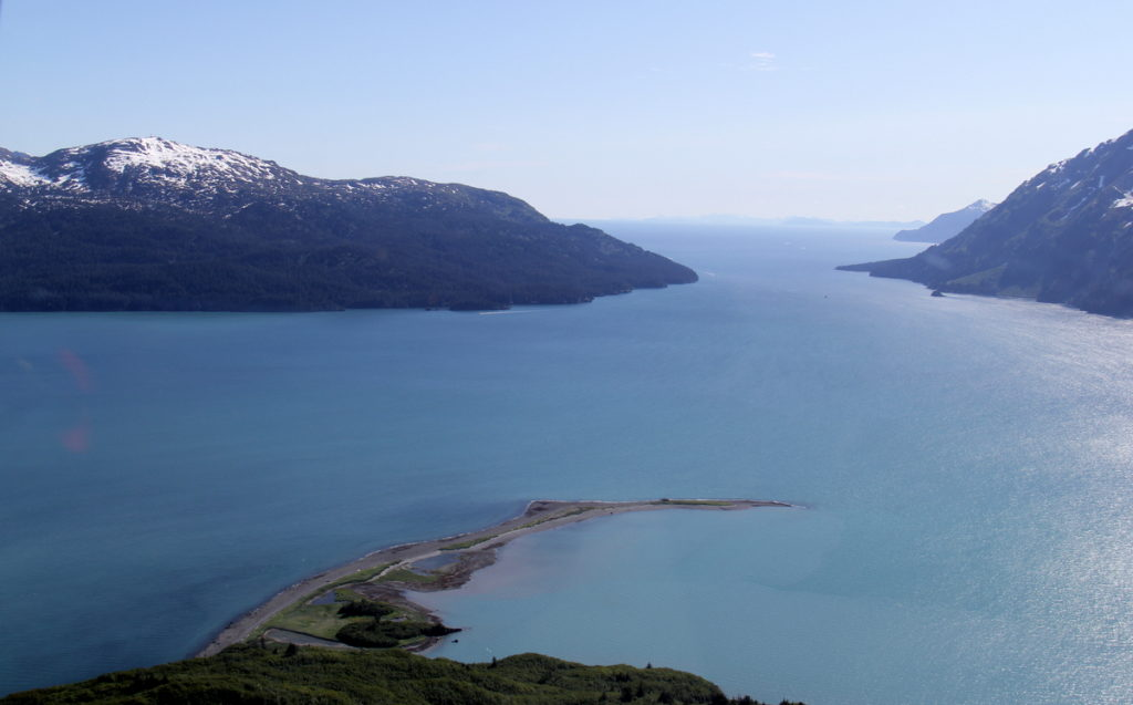 View down Valdez Narrows and into Prince William Sound