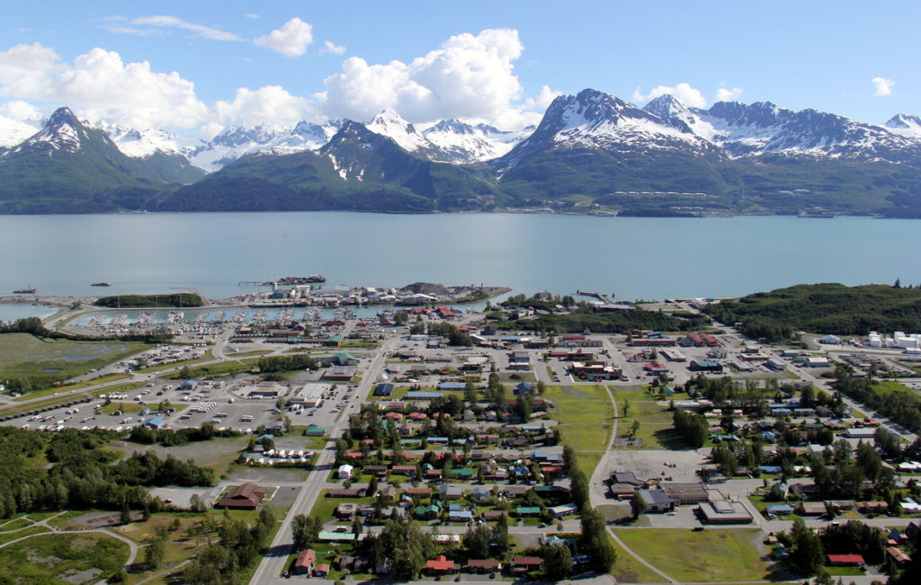 Town of Valdez with oil terminal accross the bay