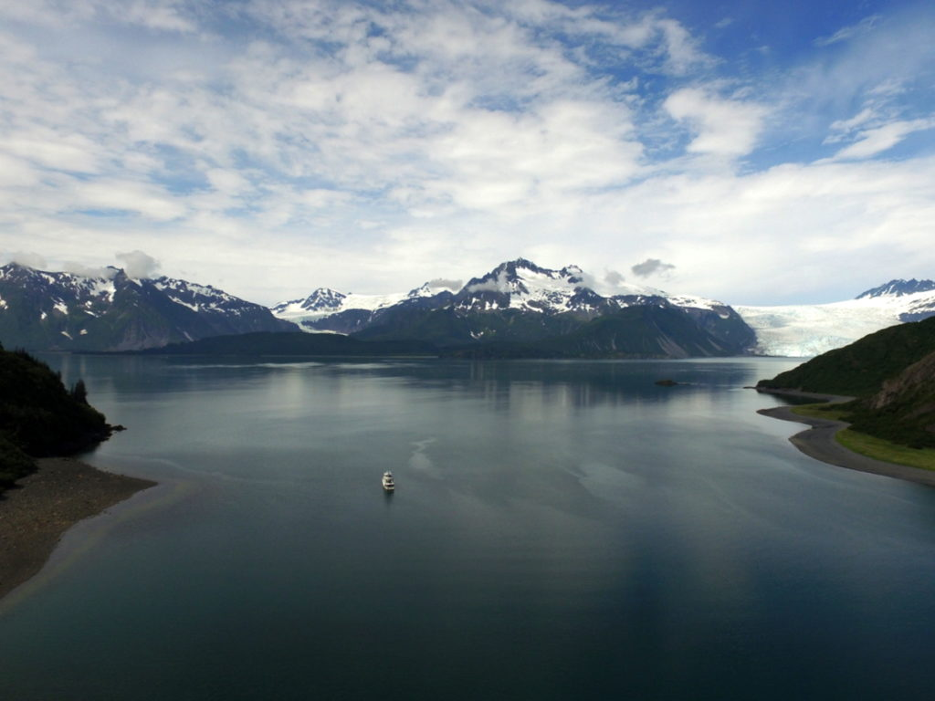 With compliments from Drone - a lovely view over Abra Cove towards Aialik glacier