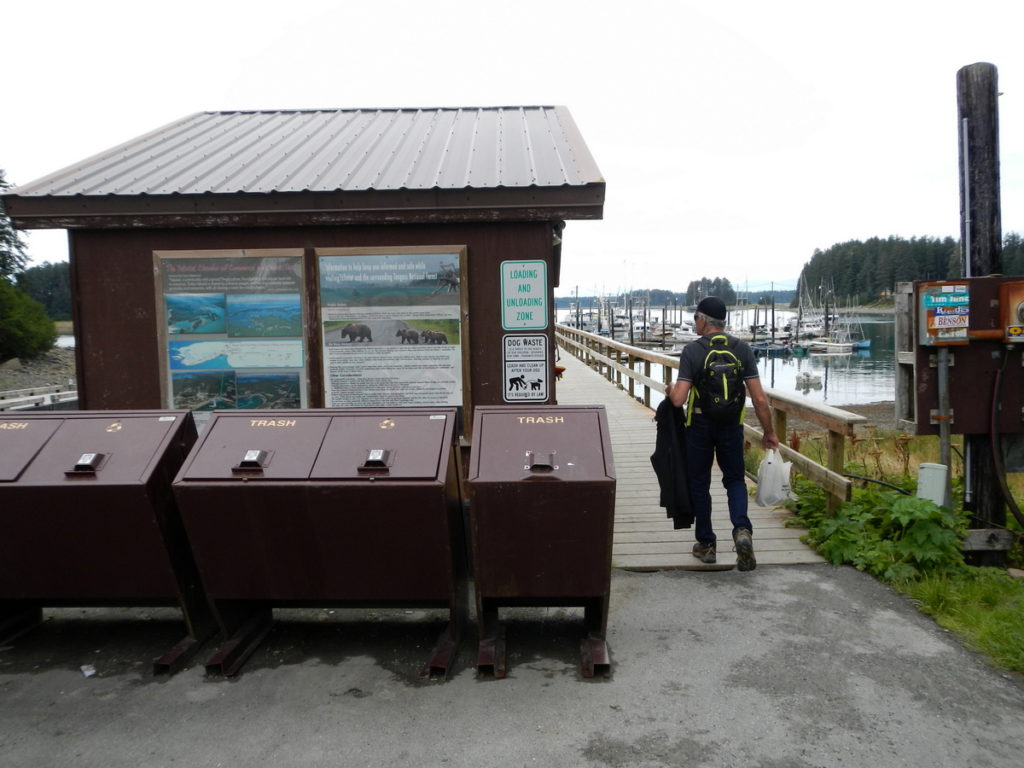 The entrance to the Harbour aat Yakutat with bear-proof bins