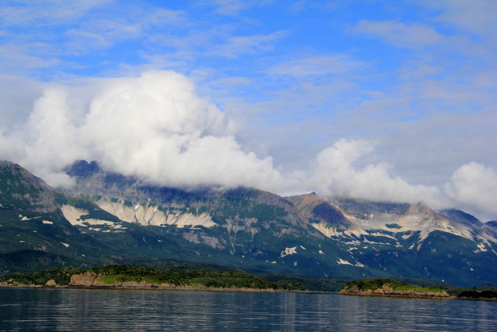 Geographic Harbour's entrance - Volcanic ash all over the mountains