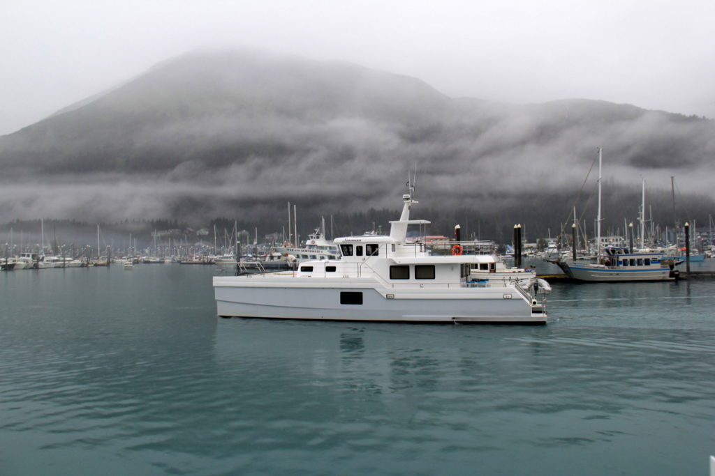 Savanah leaving Seward on a misty morning