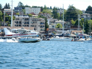Lake Union: with yacht,, boat houses, water edge homes, amphibious vehicle and sea planes  -   all sharing the same space on Lake Union!