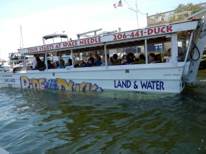 An amphibious vehicle  called Ride the Ducks ... form land to water ... quite something!