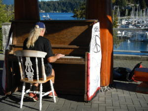 A public piano in the gardens of Gibsons, Sunshine Coast, Canada