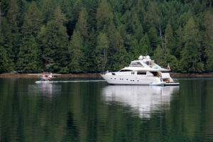 A seaplane has just picked up some guests from this yacht in Turnbull Cove